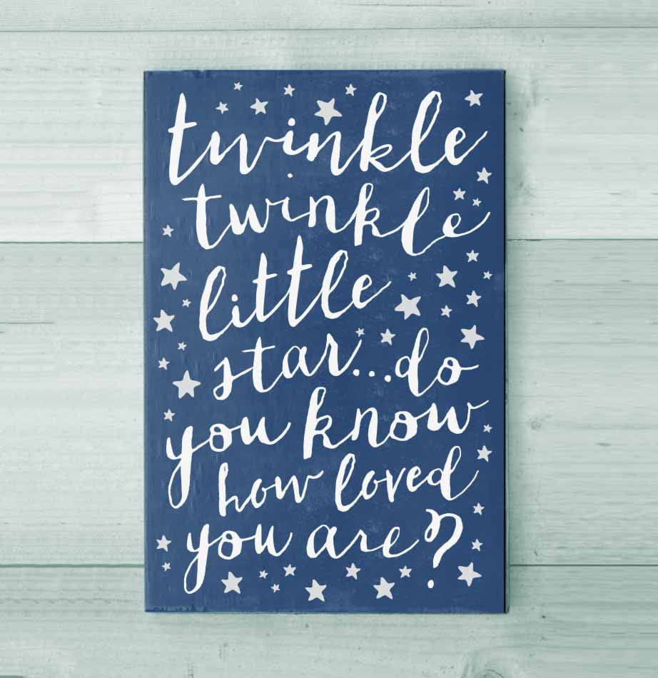Twinkle Twinkle Little Star Do You Know How Loved You Are Blue and White Nursery Wall Sign from The Painted Porch Co
