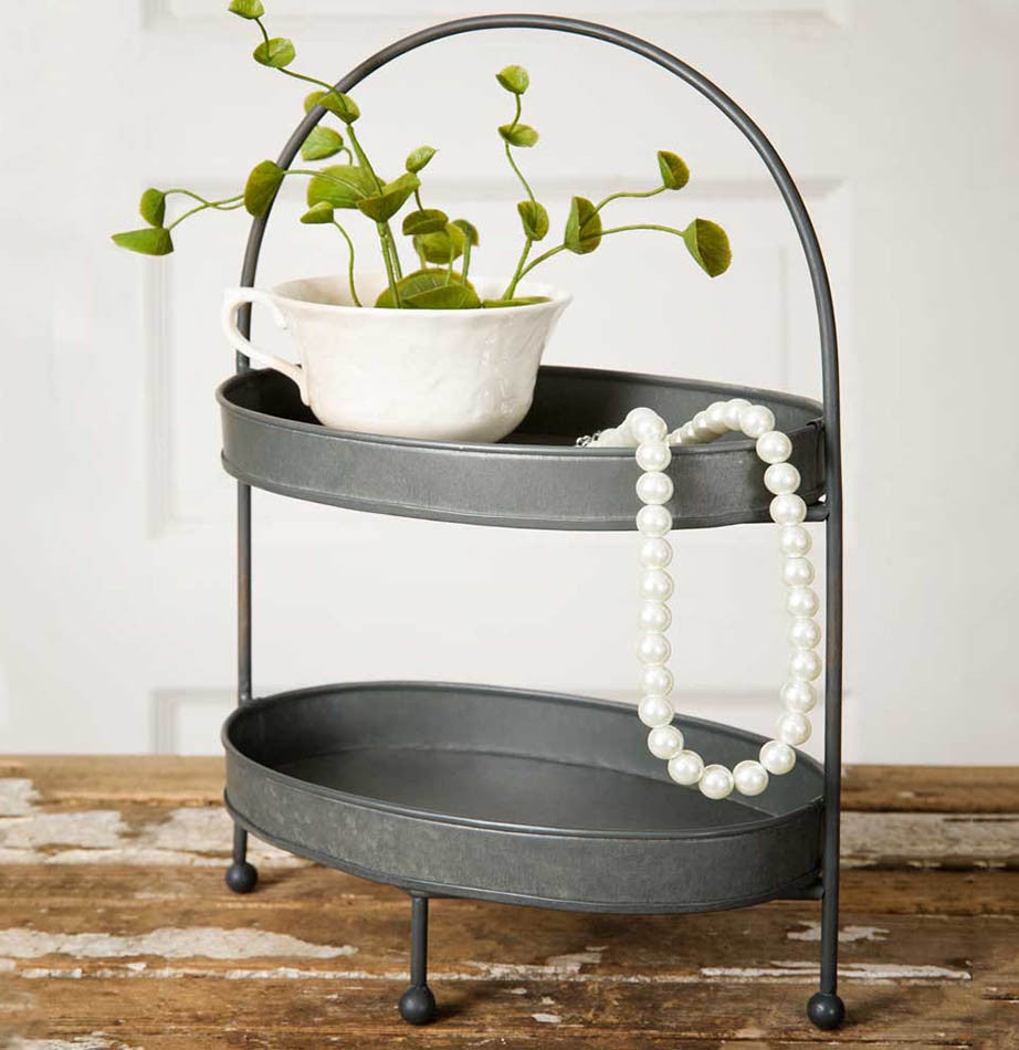 Two-Tier Metal Tray - The Painted Porch Co