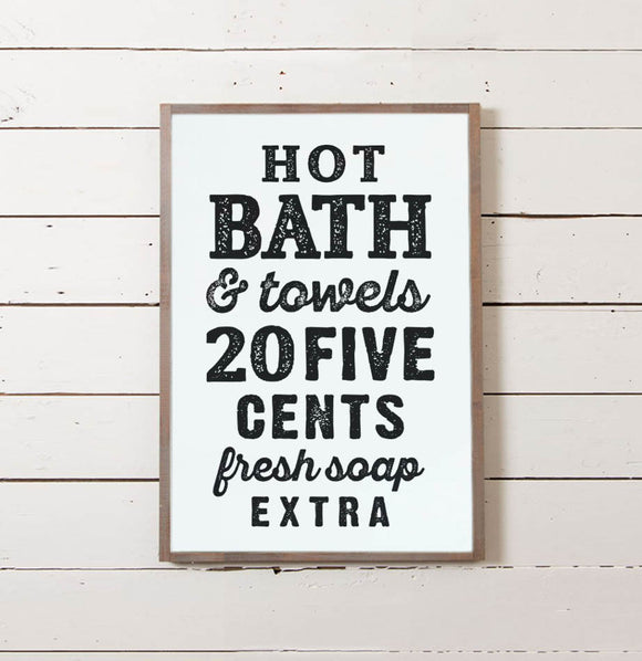 Vintage Bath Wall Sign - The Painted Porch Co