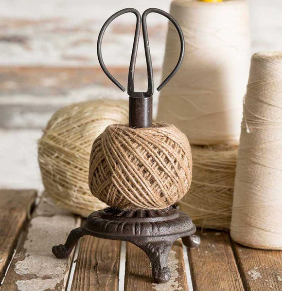 Cast Iron Twine Spool Holder with Scissors - The Painted Porch Co