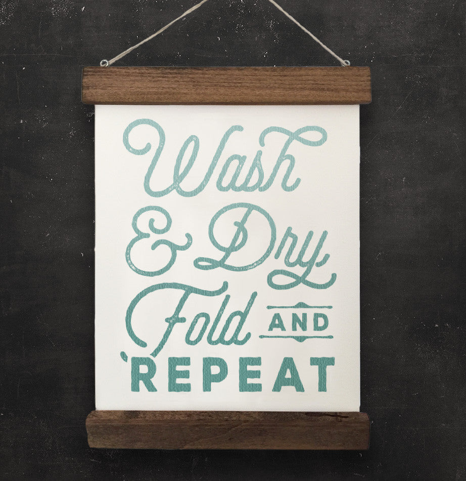 "Laundry Room Vintage Style Wall Hanging ""Wash & Dry, Fold and Repeat"" - The Painted Porch Co"
