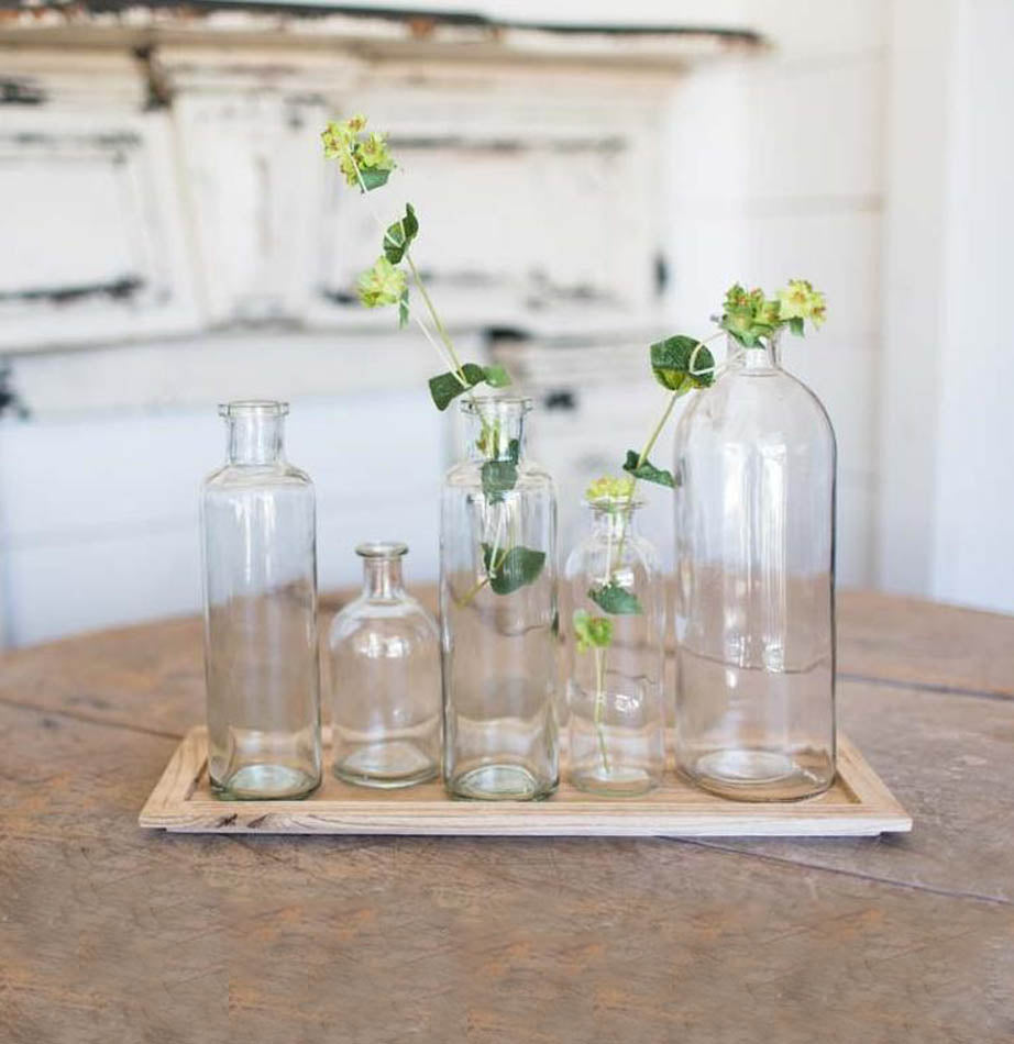The Painted Porch Co | Wood Tray with Glass Bottles