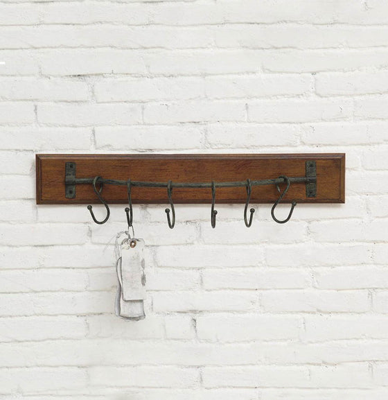 Wood Wall Hanger with 6 Metal Hooks - The Painted Porch Co