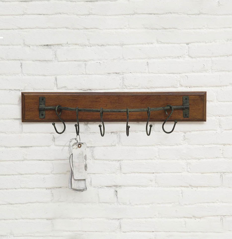 Wood Wall Hanger with 6 Metal Hooks