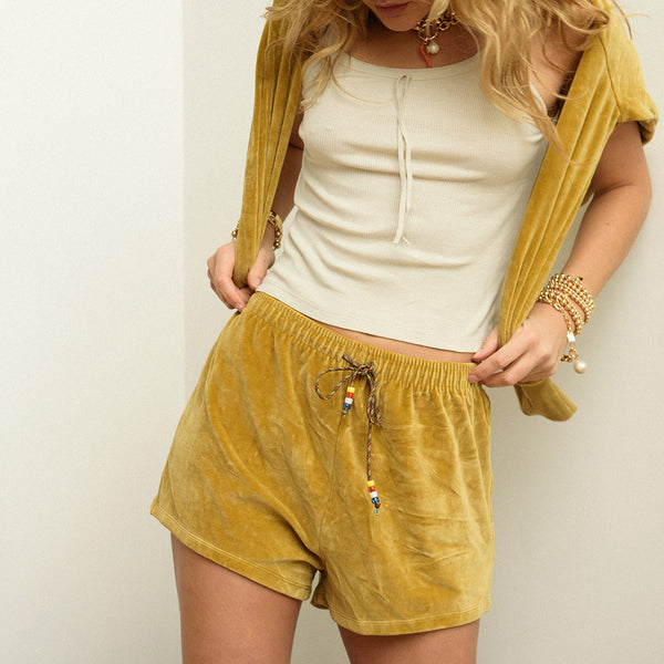 Camel Velour Shorts