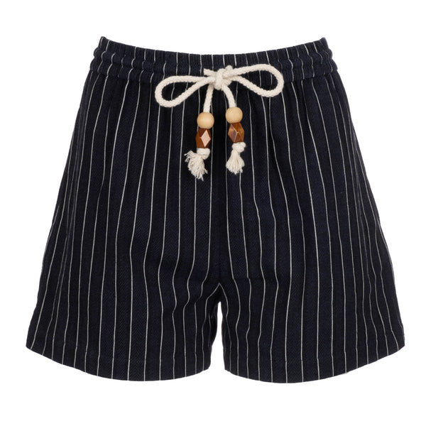 Navy Pinstripe High Waisted Shorts