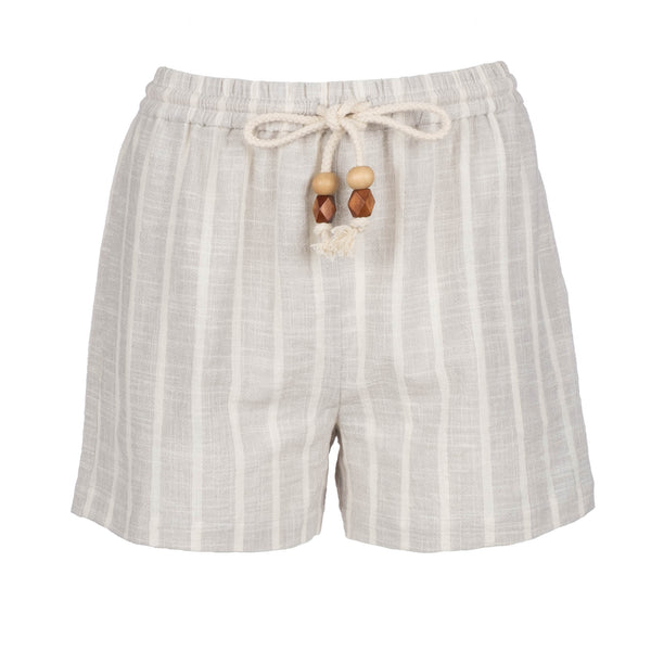 Grey Stripe High Waisted Shorts