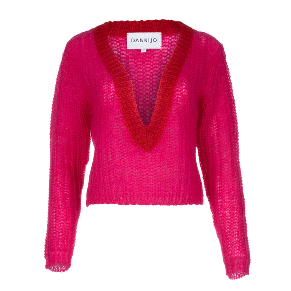 Magenta Cropped Sweater