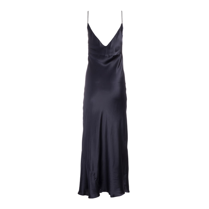 Almost Black Silk Slip Dress