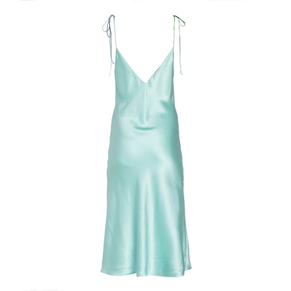 Seafoam Tie Strap Mini Silk Dress