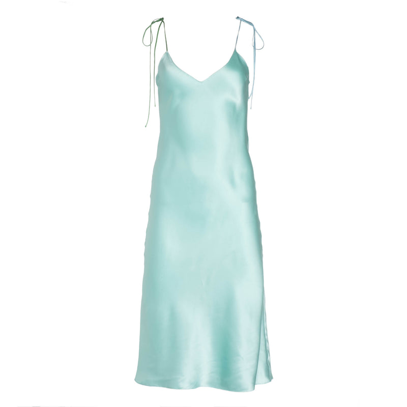 Seafoam Tie Strap Midi Silk Dress