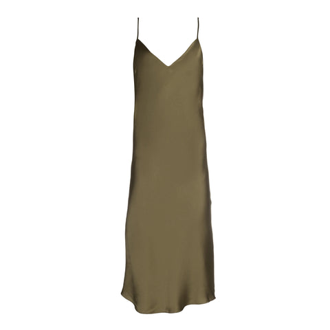Army Green Midi Slip Dress