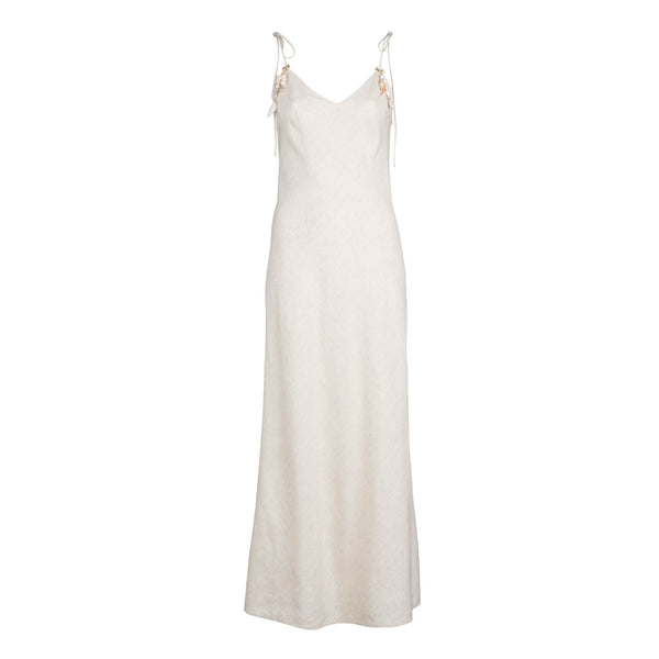 Beige Linen Tie Strap Dress