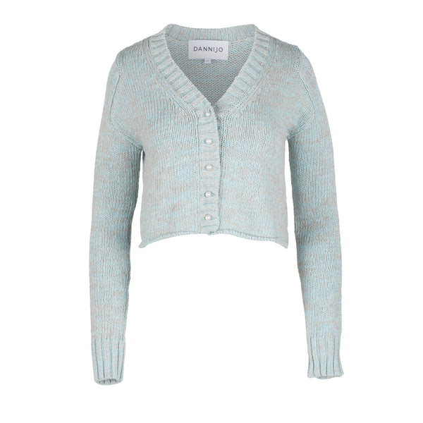 Blue Cropped Cotton Cardigan