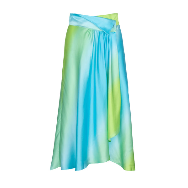 Blue Green Ombre Silk Skirt