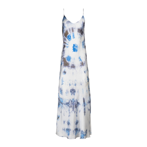 Blue Bullseye Tie Dye Silk Slip Dress