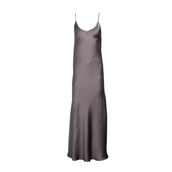 Charcoal Silk Slip Dress