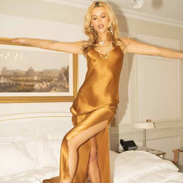 Bronze Long Silk Slip Dress