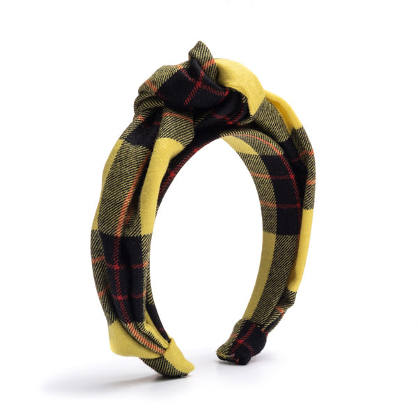 Dionne Yellow Plaid Headband