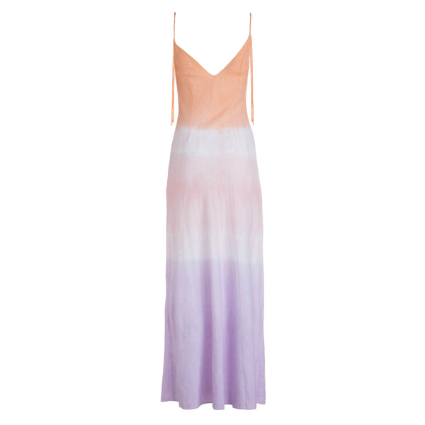 Dreamy Ombre Linen Tie Strap Dress