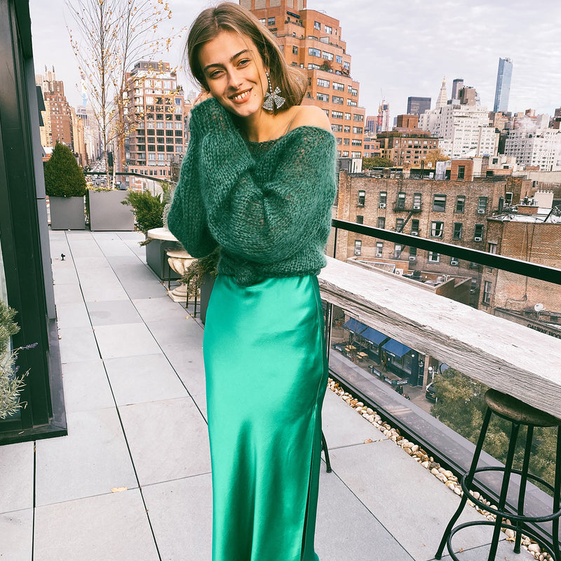 Emerald Long Silk Slip Dress