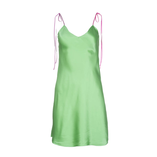 Grass Tie Strap Mini Silk Dress