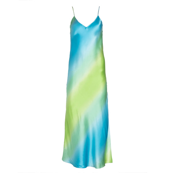 Blue-Green Ombre Silk Slip Dress