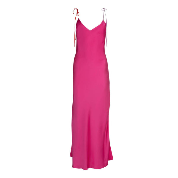 Hot Pink Tie Strap Silk Slip Dress
