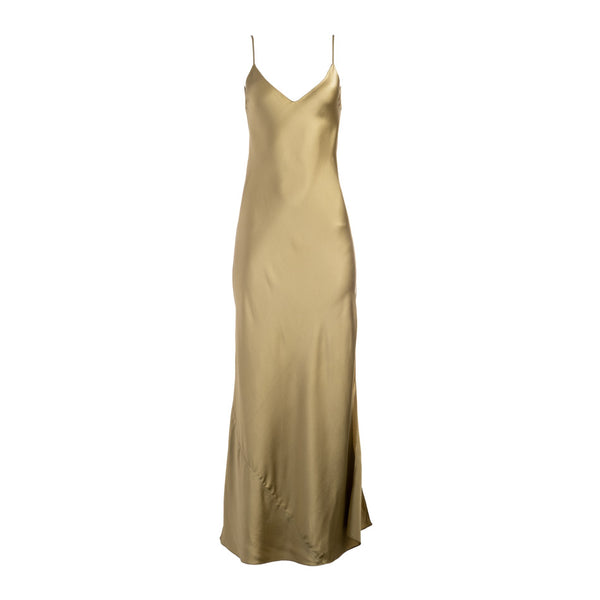 Khaki Long Silk Slip Dress