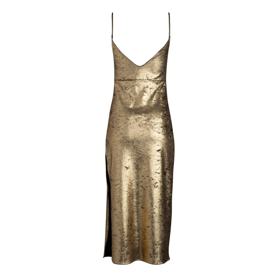 d32489a1834d Dannijo Zelda Midi Gold Dress with Side Slit - Made in NYC