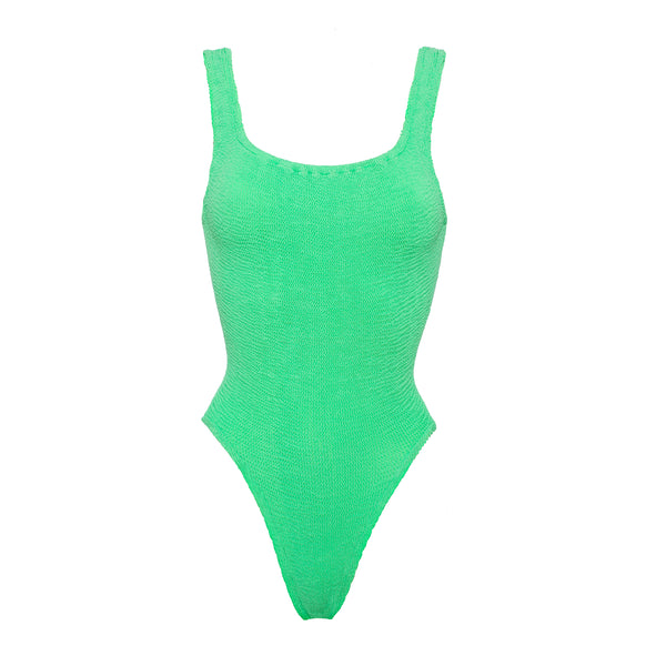 Hunza G Lime Square Neck One Piece Swimsuit