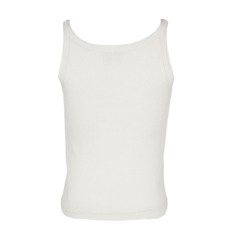 Pearled Ivory Ribbed Tank Top