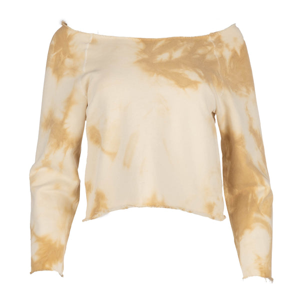 Banana Tie Dye Raglan Off Shoulder Sweatshirt