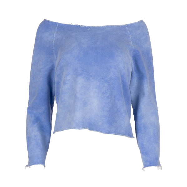 Blue Raglan Off Shoulder Sweatshirt