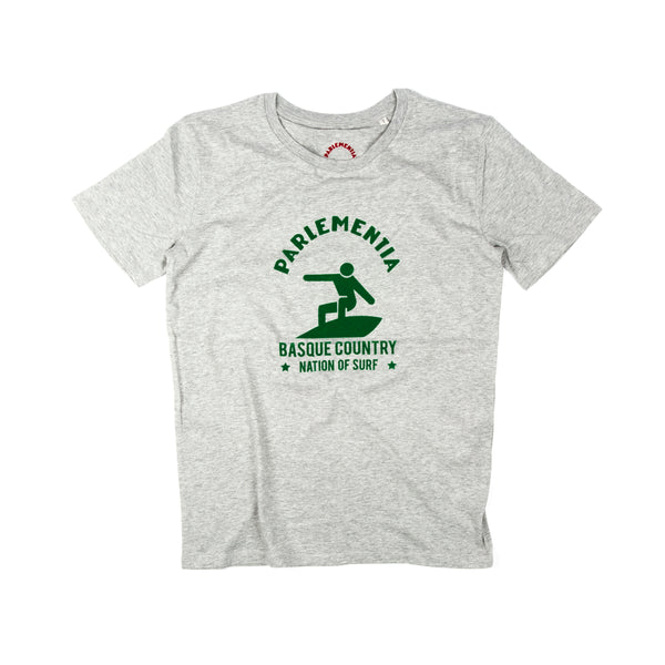 Parlementia Unisex Grey and Green Surfer T-shirt