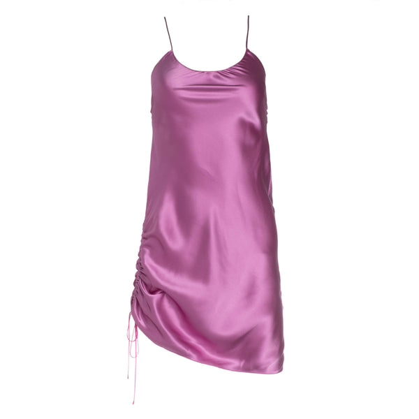 Violet Punch Ruched Mini Silk Dress