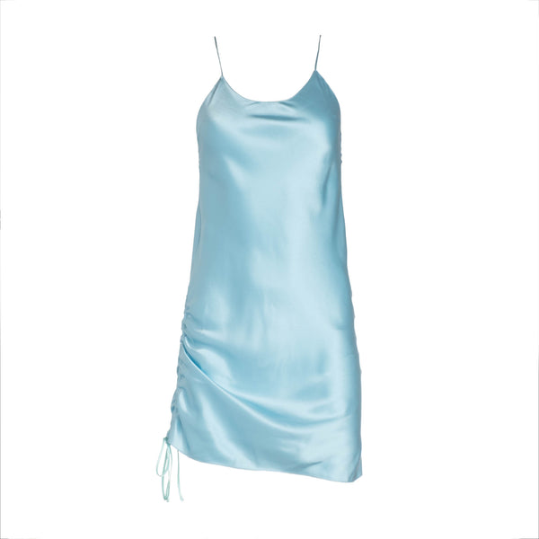 Ocean Ruched Mini Silk Dress