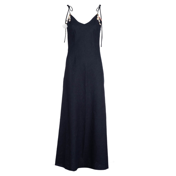 Navy Linen Tie Strap Dress