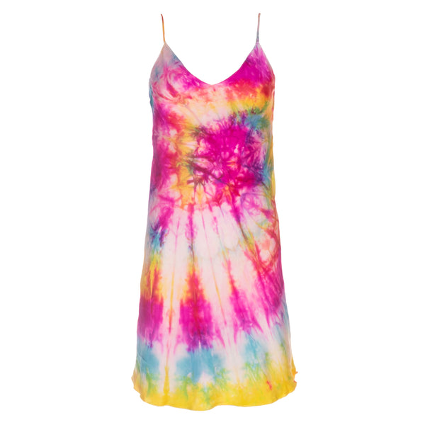 Neon Swirl Tie Dye Mini Slip Dress