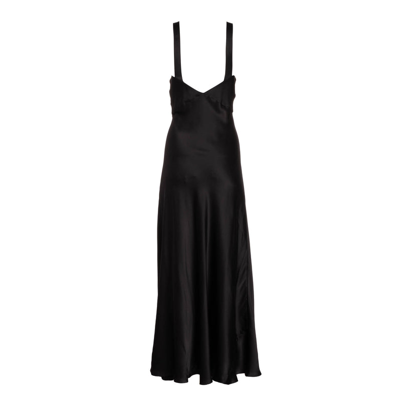Noir Wide Strap Slip Dress