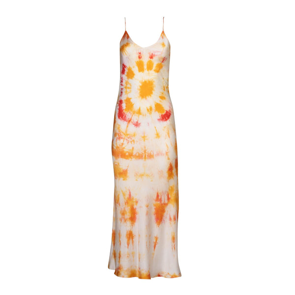 Orange Bullseye Tie Dye Silk Slip Dress
