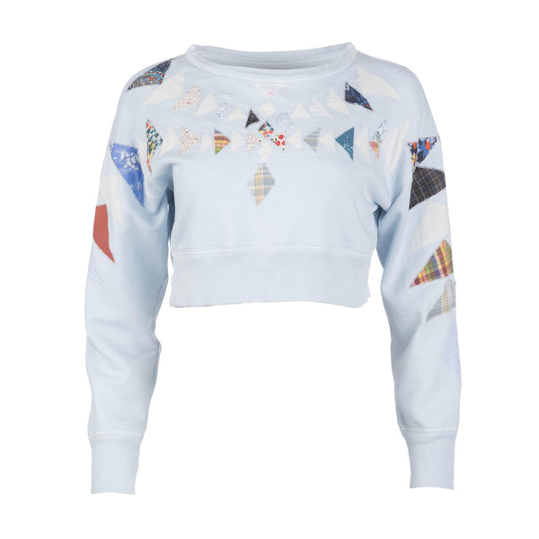 Powder Blue Patchwork Sweatshirt