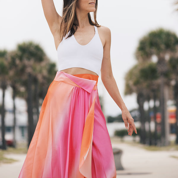 Pink-Orange Ombre Silk Skirt