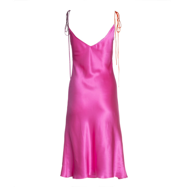Electric Pink Tie Strap Mini Silk Dress
