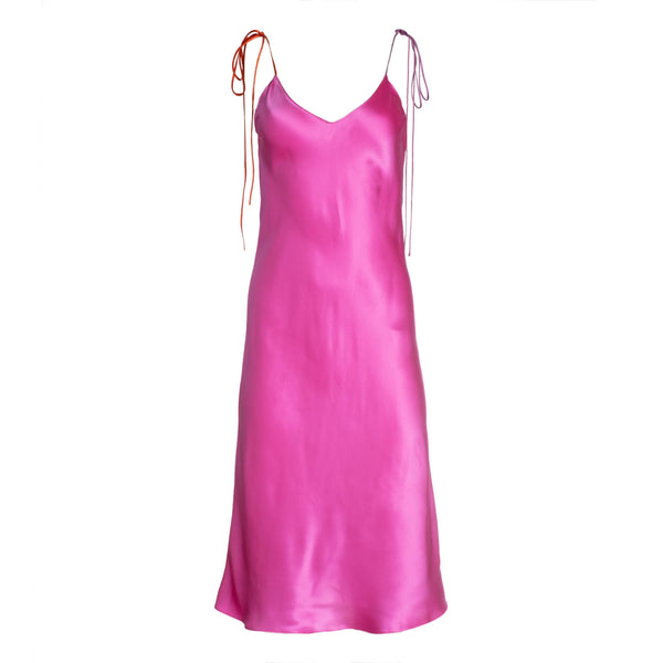 Electric Pink Tie Strap Midi Silk Dress