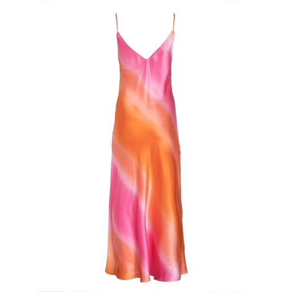 Pink-Orange Ombre Silk Slip Dress