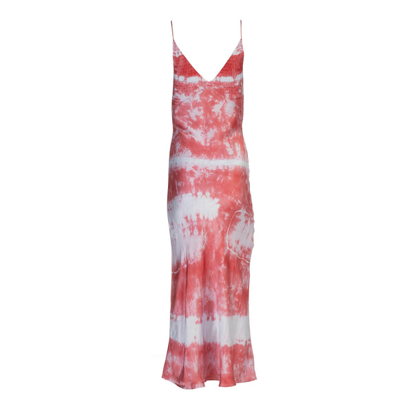 Raspberry Embroidered Tie Dye Slip Dress