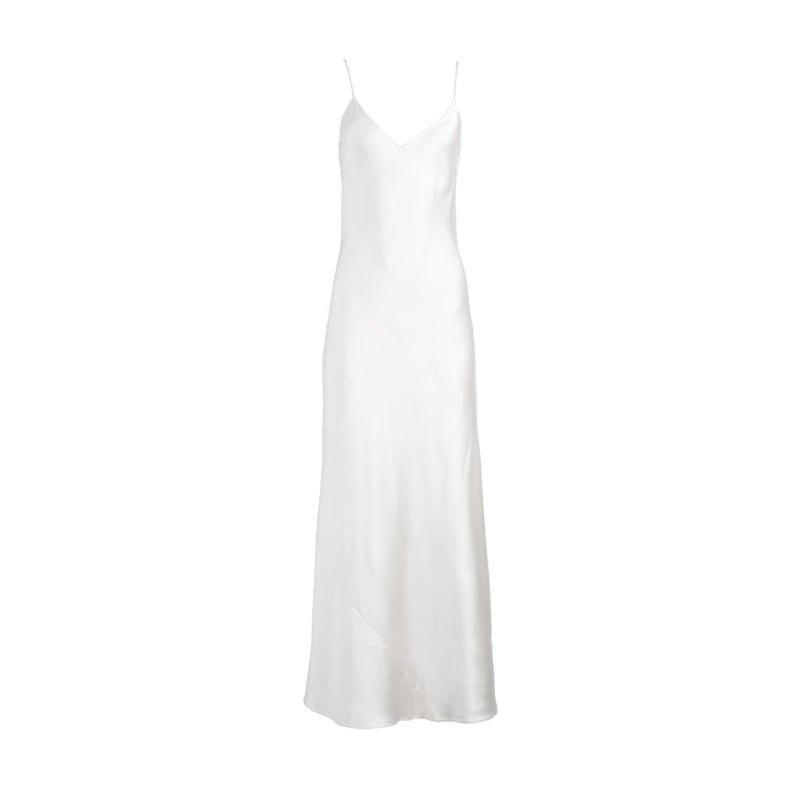 White Silk Slip Dress
