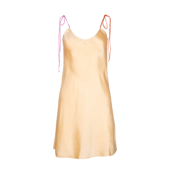 Sorbet Tie Strap Mini Silk Dress