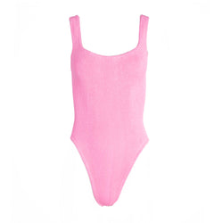 Hunza G Pink Square Neck One Piece Swimsuit